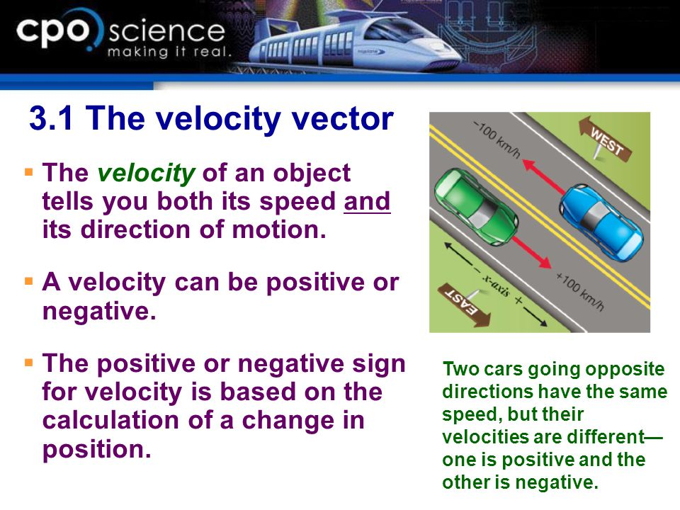 3.1 The velocity vector The velocity of an object tells you both its speed and its direction of motion.