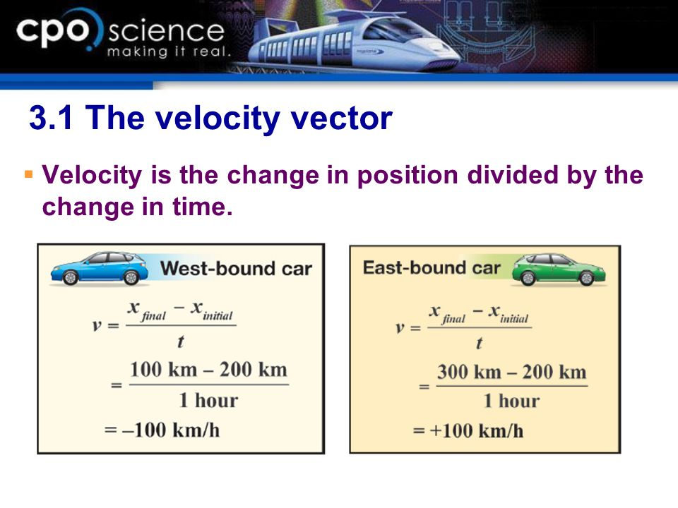 3.1 The velocity vector Velocity is the change in position divided by the change in time.