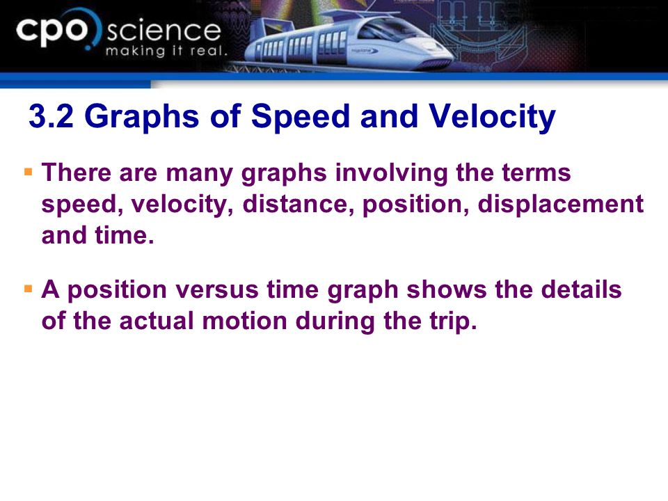 3.2 Graphs of Speed and Velocity