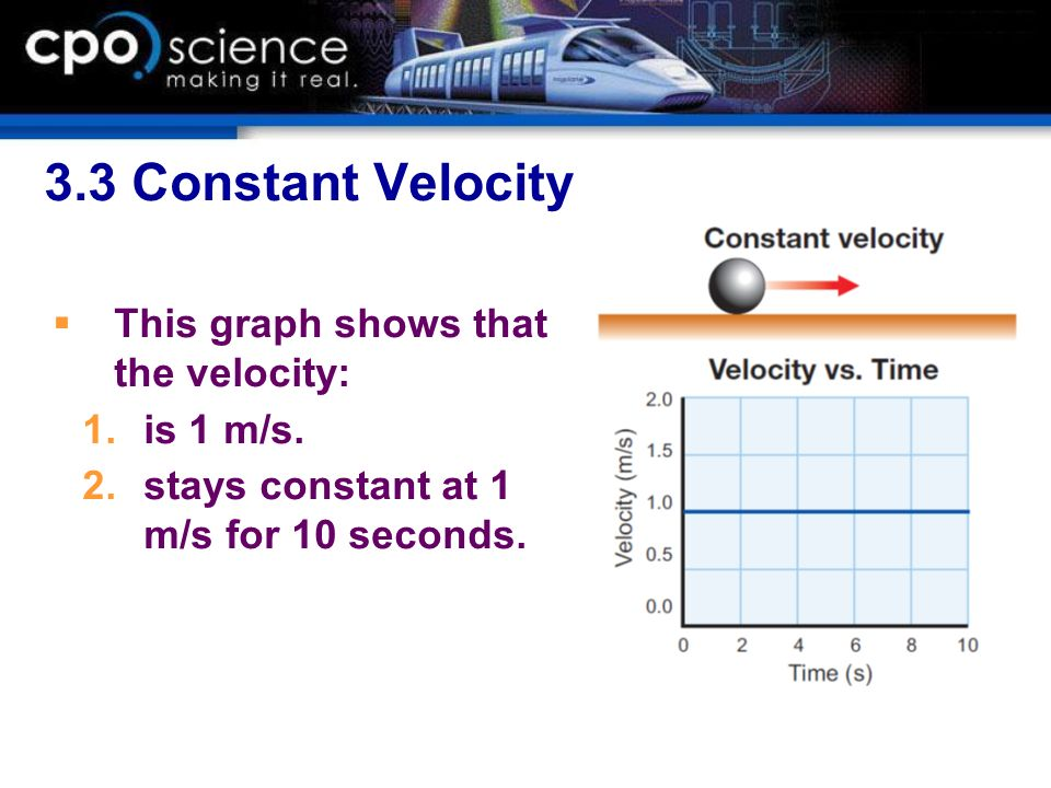 3.3 Constant Velocity This graph shows that the velocity: is 1 m/s.