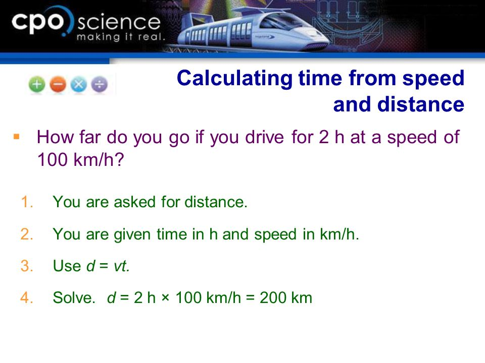 Calculating time from speed and distance