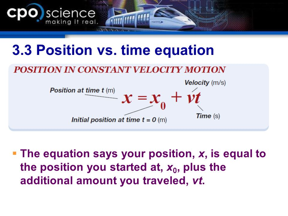 3.3 Position vs. time equation