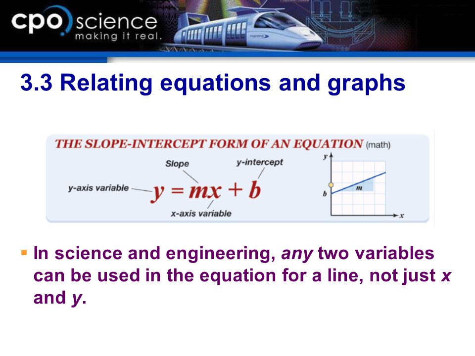 3.3 Relating equations and graphs