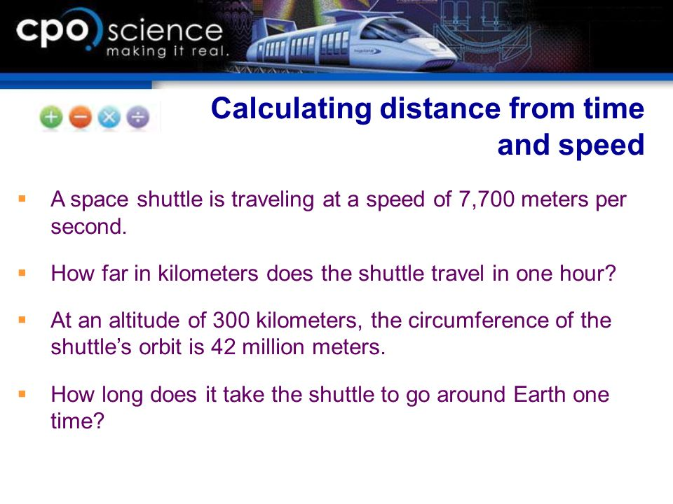 Calculating distance from time and speed