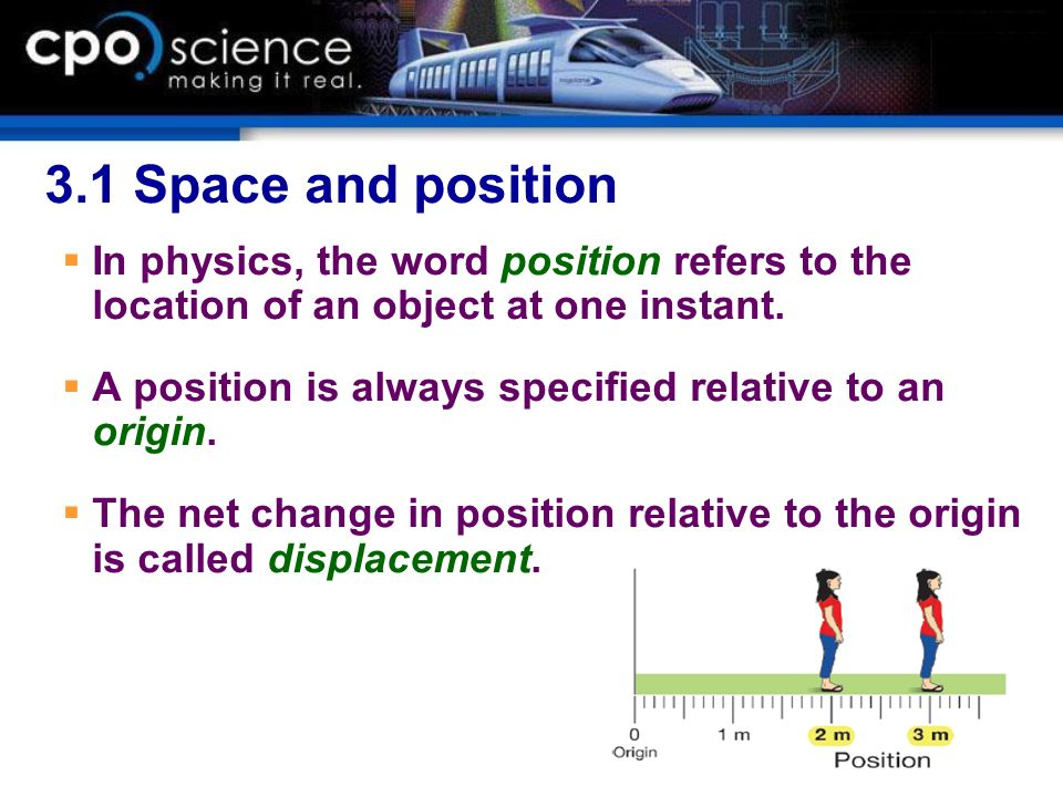 3.1 Space and position In physics, the word position refers to the location of an object at one instant.