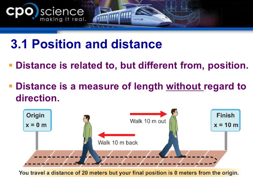 3.1 Position and distance Distance is related to, but different from, position.