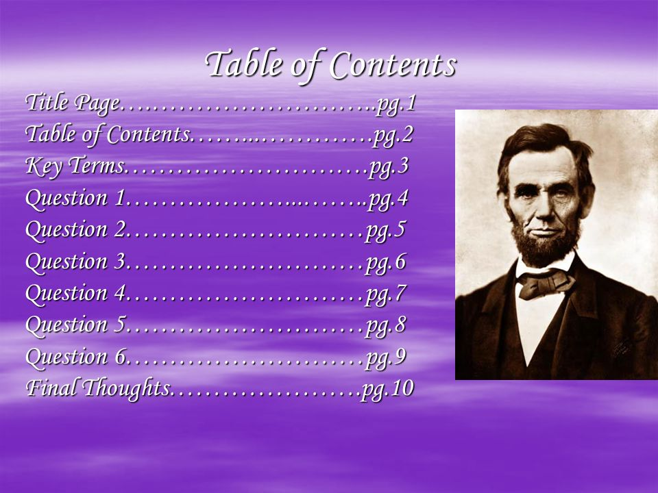 Table of Contents Title Page….……………………..pg.1