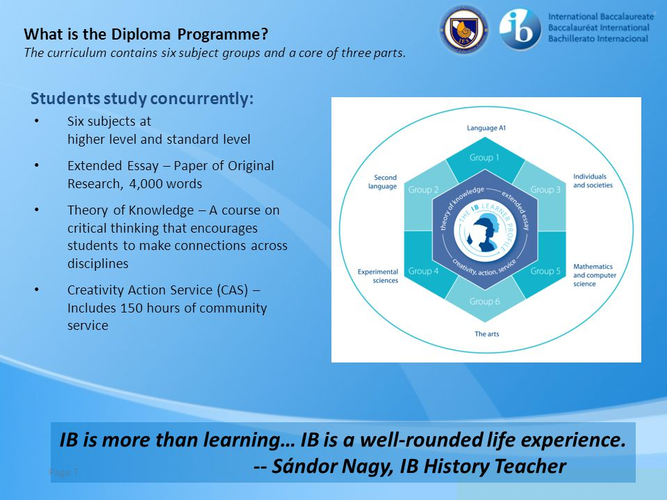 IB is more than learning… IB is a well-rounded life experience.