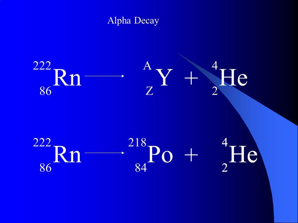 Alpha Decay Rn 222 86 + Y A Z He 4 2 Rn 222 86 He 4 2 + Po 218 84