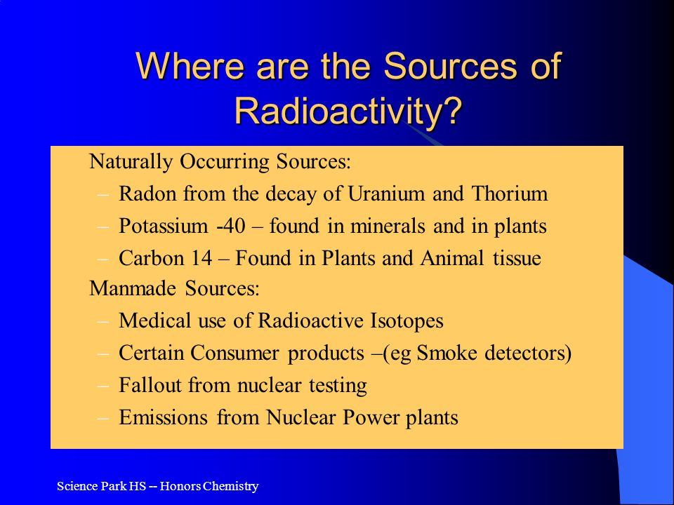 Where are the Sources of Radioactivity