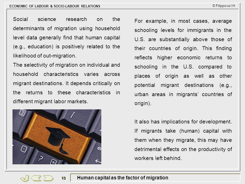 Human capital as the factor of migration