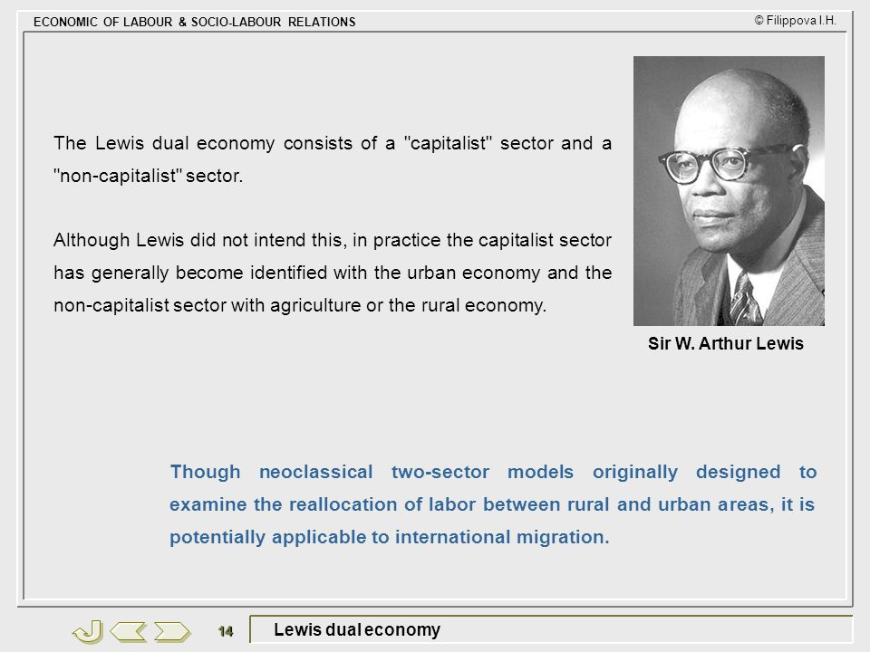 The Lewis dual economy consists of a capitalist sector and a non-capitalist sector.