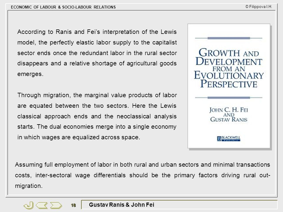 According to Ranis and Fei's interpretation of the Lewis model, the perfectly elastic labor supply to the capitalist sector ends once the redundant labor in the rural sector disappears and a relative shortage of agricultural goods emerges.