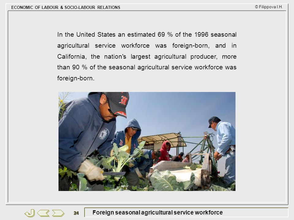 Foreign seasonal agricultural service workforce