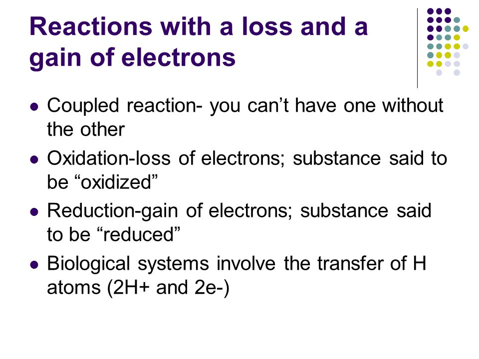 Reactions with a loss and a gain of electrons