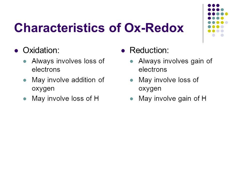 Characteristics of Ox-Redox