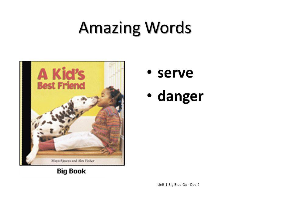 Amazing Words serve danger Unit 1 Big Blue Ox - Day 2