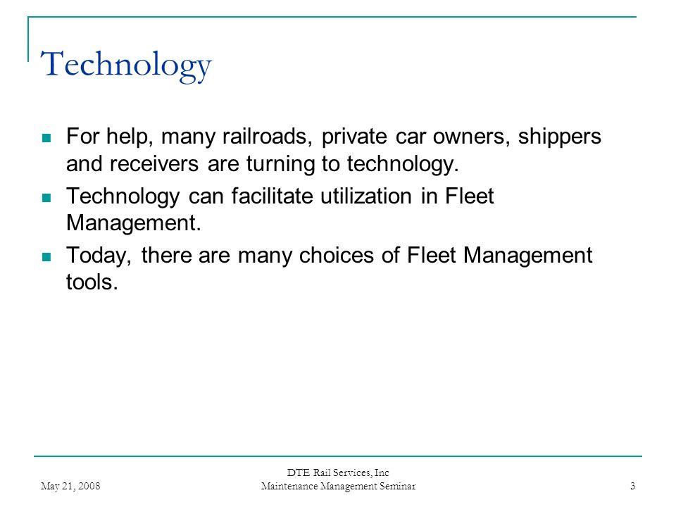 DTE Rail Services, Inc Maintenance Management Seminar