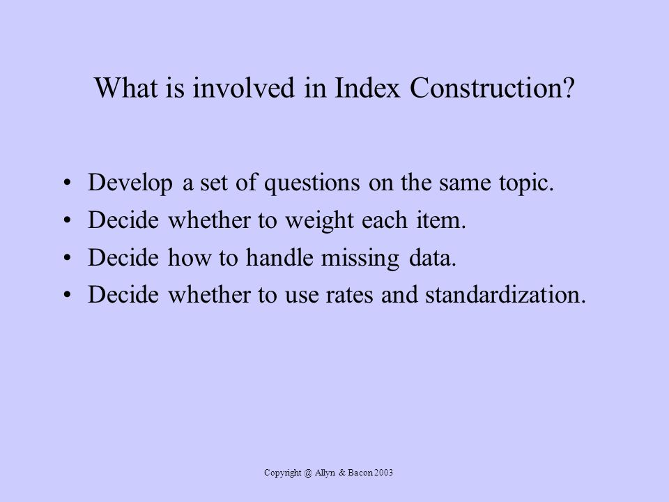 What is involved in Index Construction