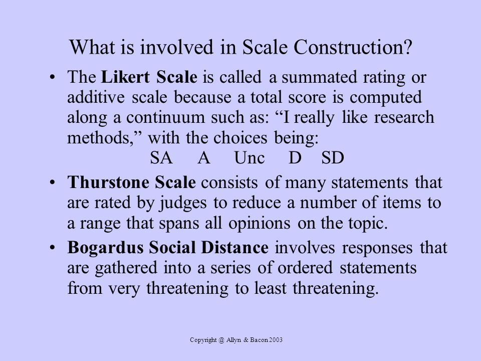 What is involved in Scale Construction