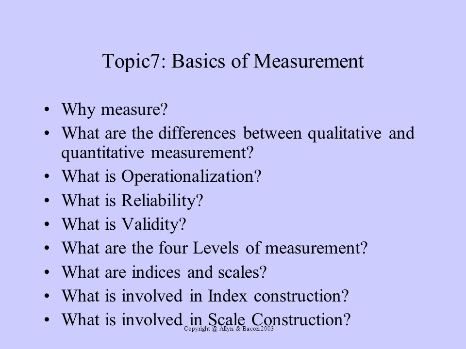 Topic7: Basics of Measurement