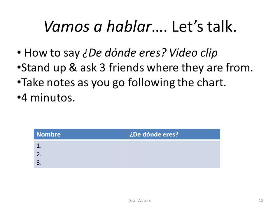 Vamos a hablar…. Let's talk.