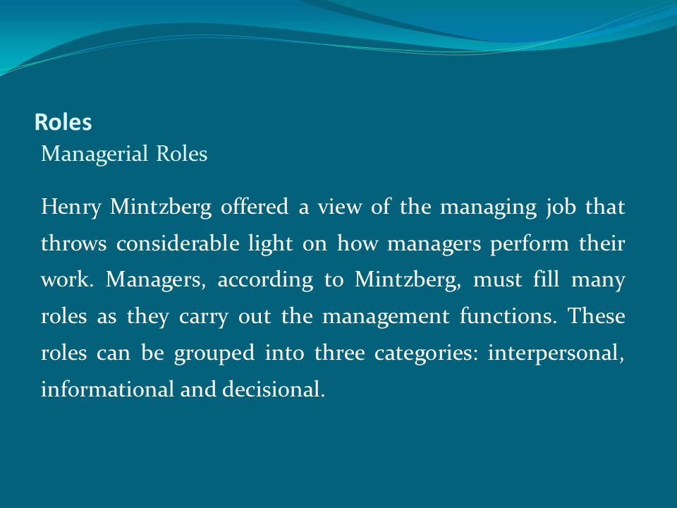 Roles Managerial Roles