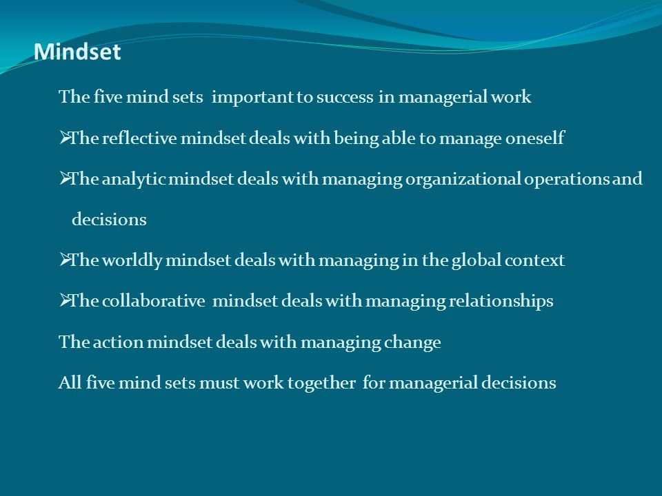Mindset The five mind sets important to success in managerial work