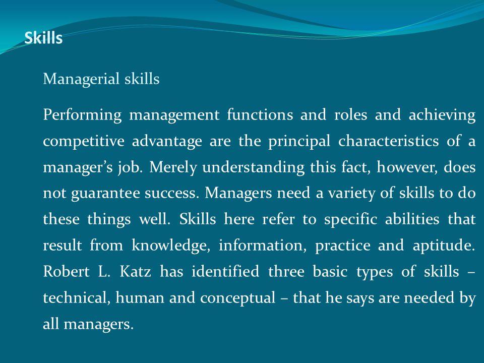 Skills Managerial skills