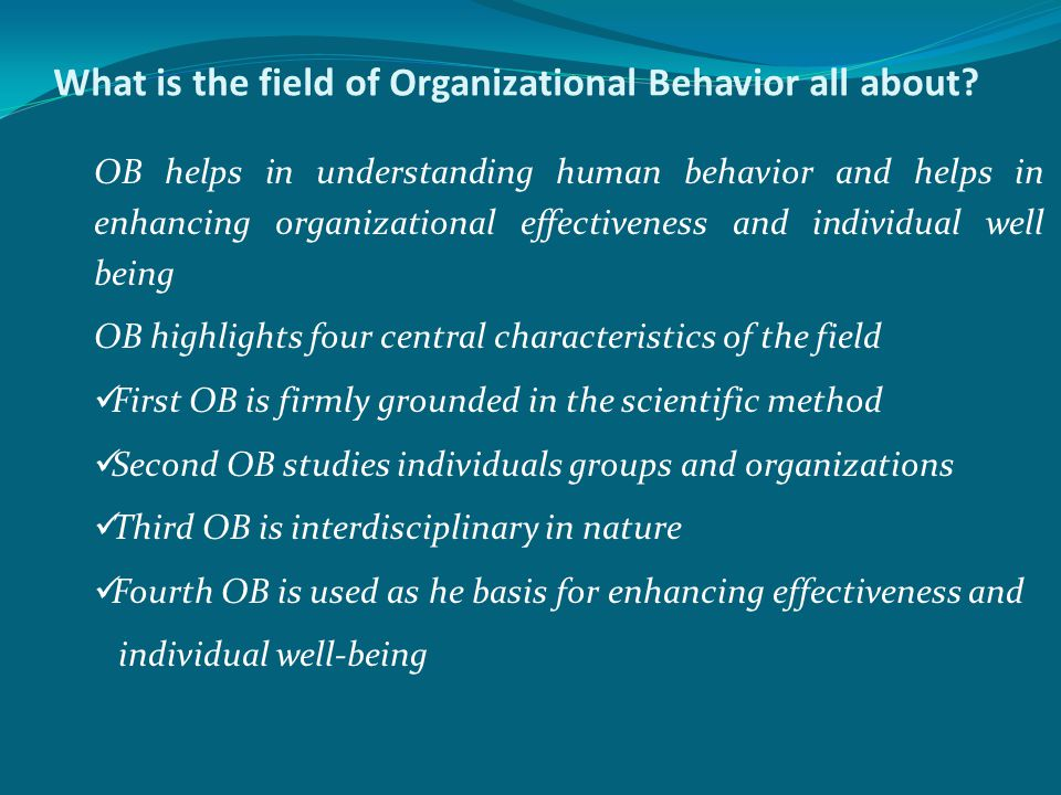 What is the field of Organizational Behavior all about