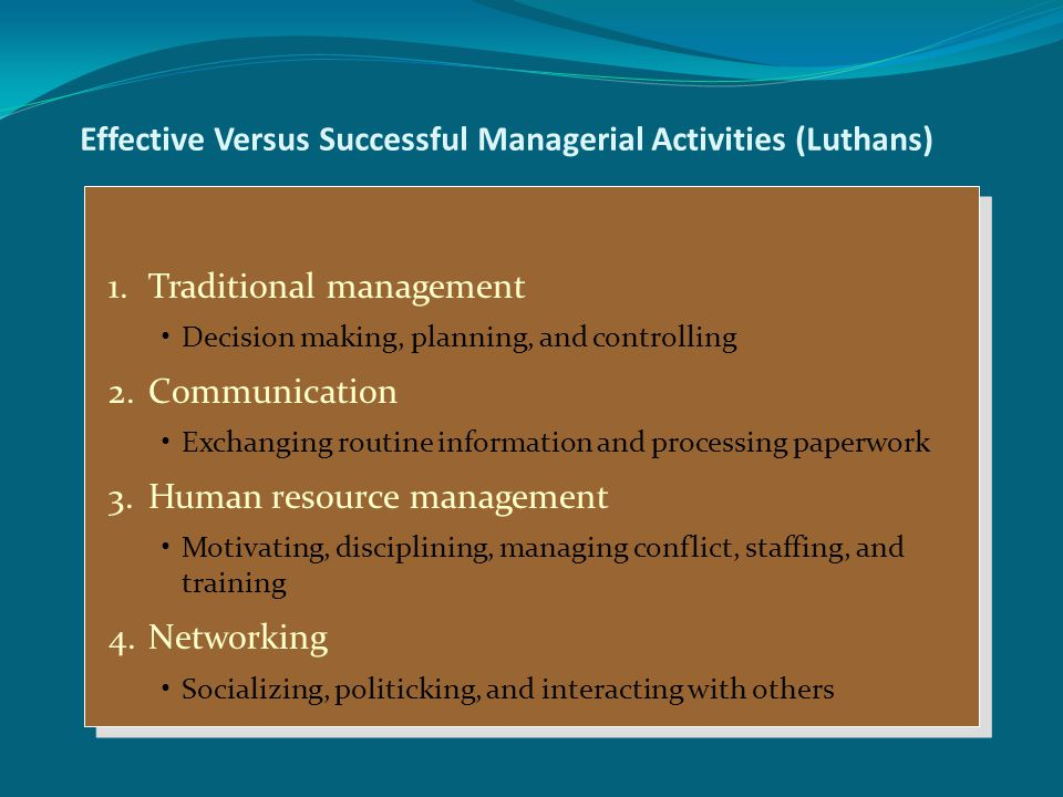 Effective Versus Successful Managerial Activities (Luthans)