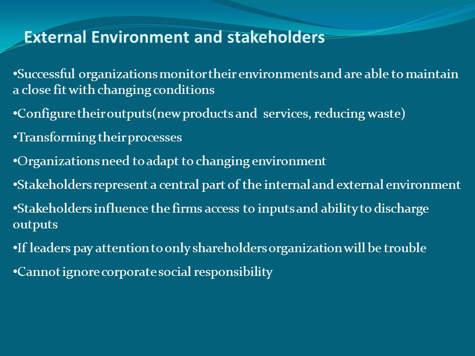 External Environment and stakeholders