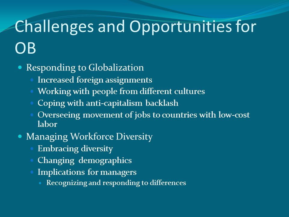 challenges and opportunities for ob Delhi business review x vol 9, no 1 (january - june 2008) 1 challenges facing change management theories and research mildred golden pryor sonia taneja john humphreys.