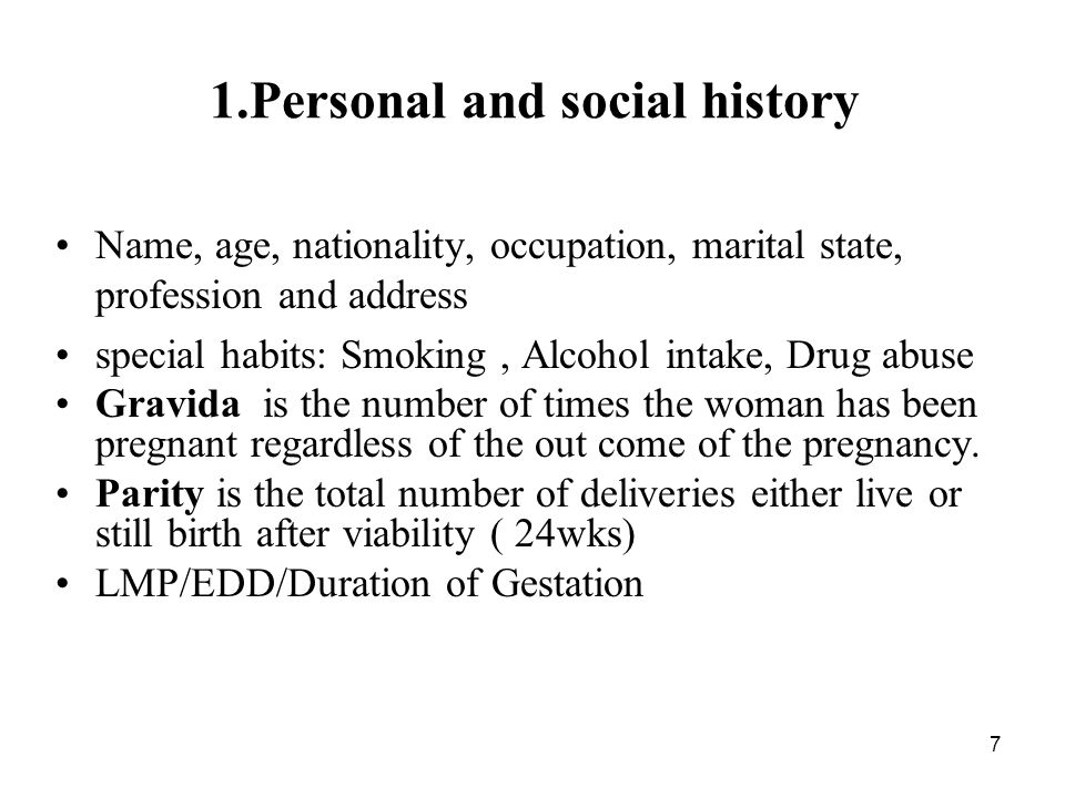 1.Personal and social history