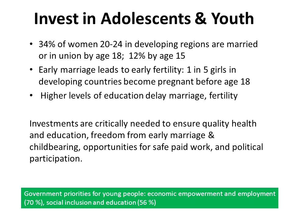 Invest in Adolescents & Youth