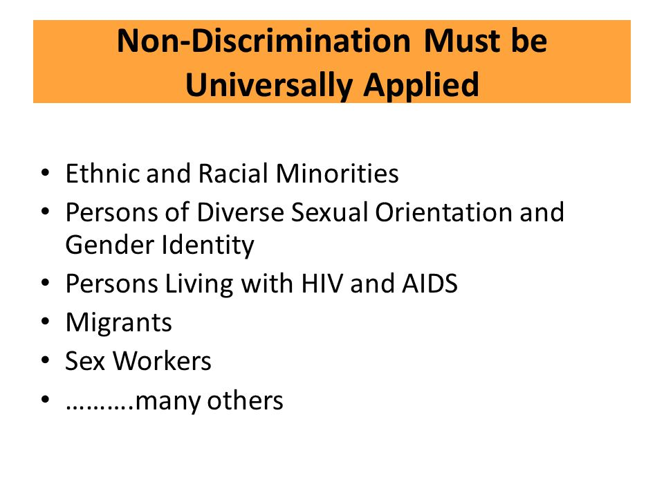 Non-Discrimination Must be Universally Applied
