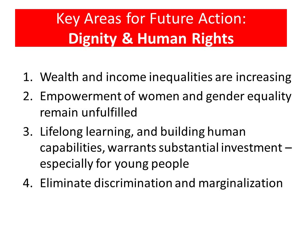 Key Areas for Future Action: Dignity & Human Rights