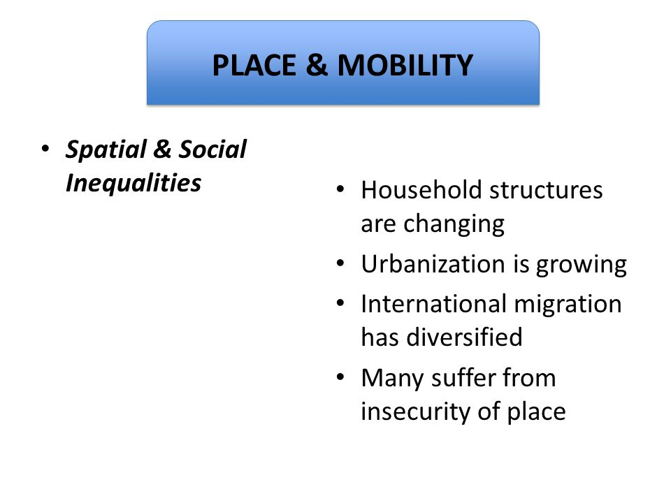 Dignity PLACE & MOBILITY Spatial & Social Inequalities
