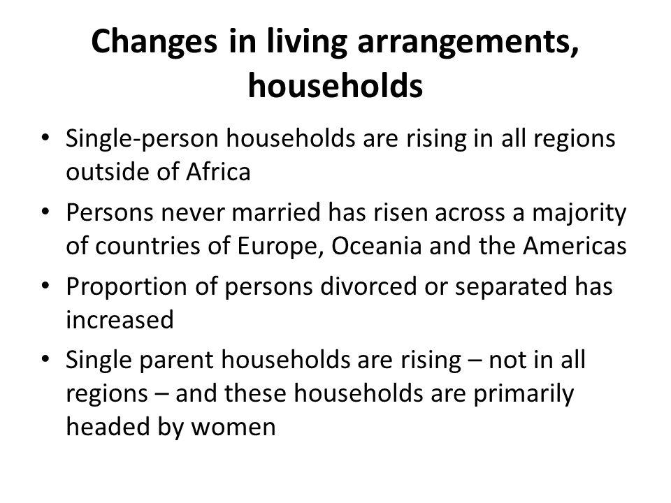 Changes in living arrangements, households