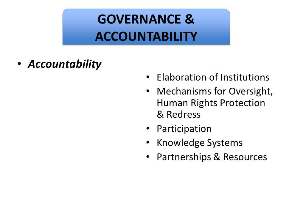 GOVERNANCE & ACCOUNTABILITY