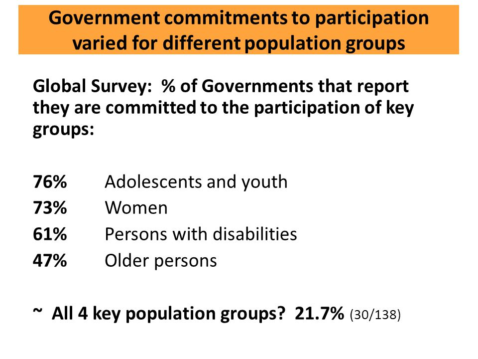 Government commitments to participation varied for different population groups