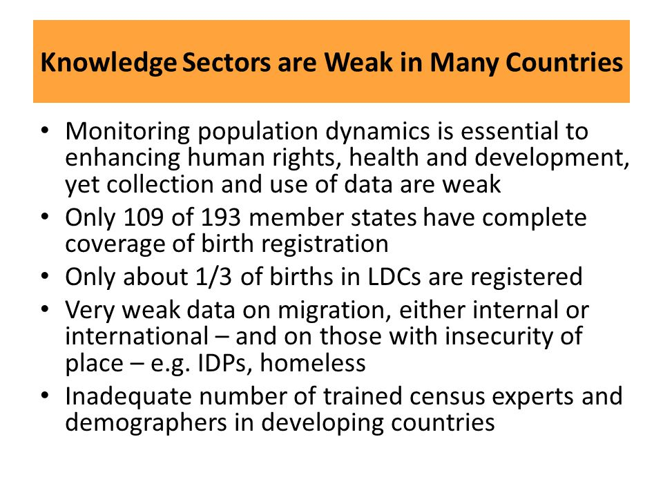 Knowledge Sectors are Weak in Many Countries
