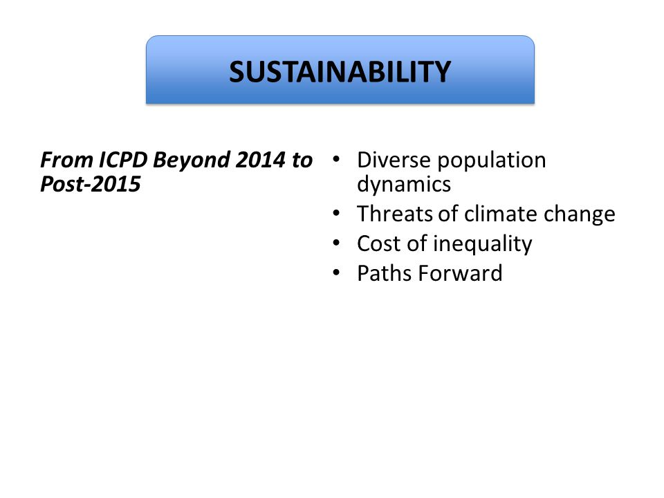 Dignity SUSTAINABILITY From ICPD Beyond 2014 to Post-2015