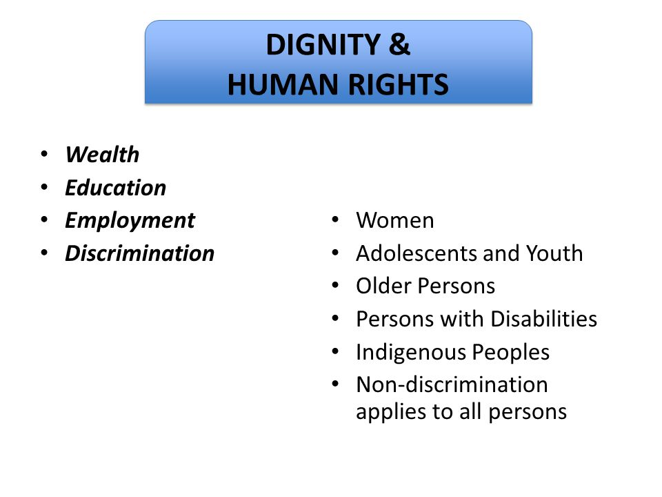 Dignity DIGNITY & HUMAN RIGHTS Wealth Education Employment Women