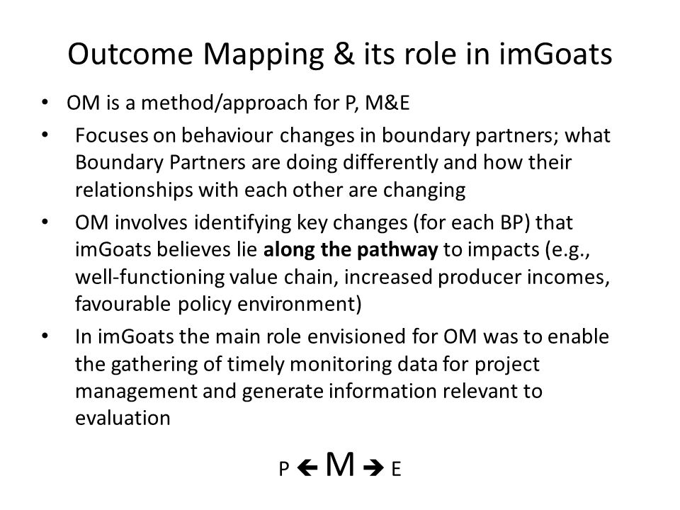 Outcome Mapping & its role in imGoats