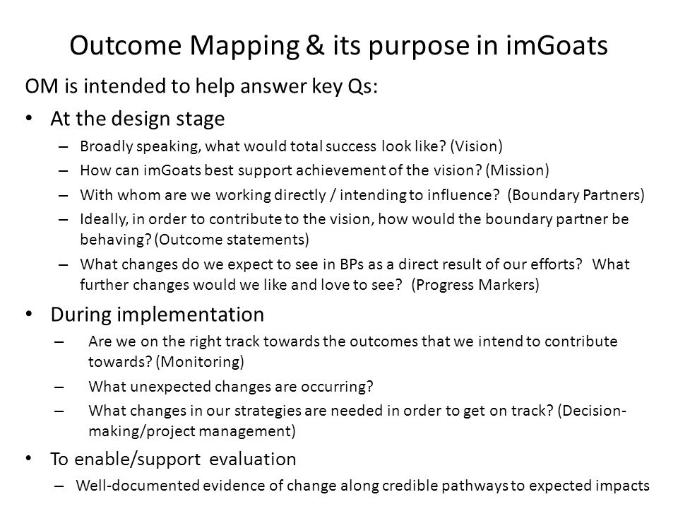 Outcome Mapping & its purpose in imGoats