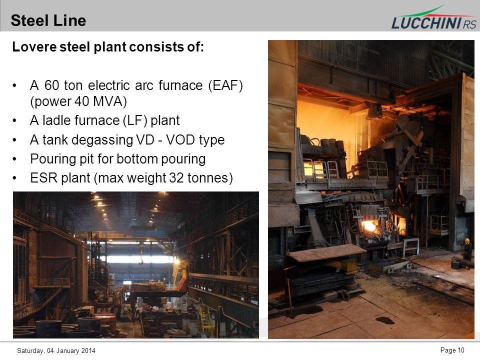 Steel Line Lovere steel plant consists of: