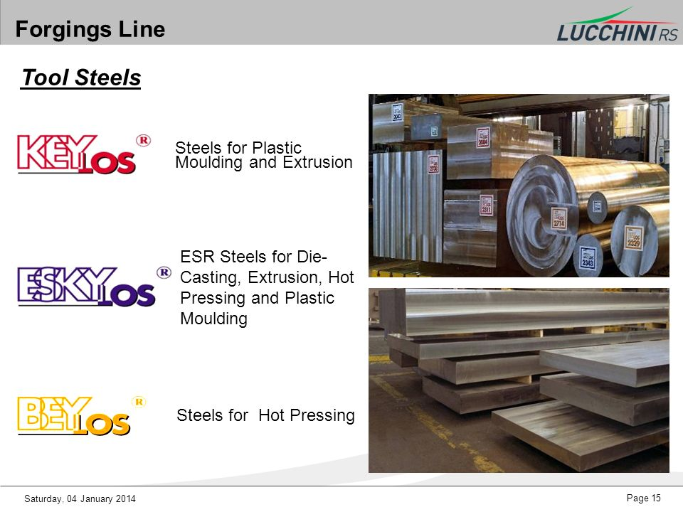 Forgings Line Tool Steels Steels for Plastic Moulding and Extrusion