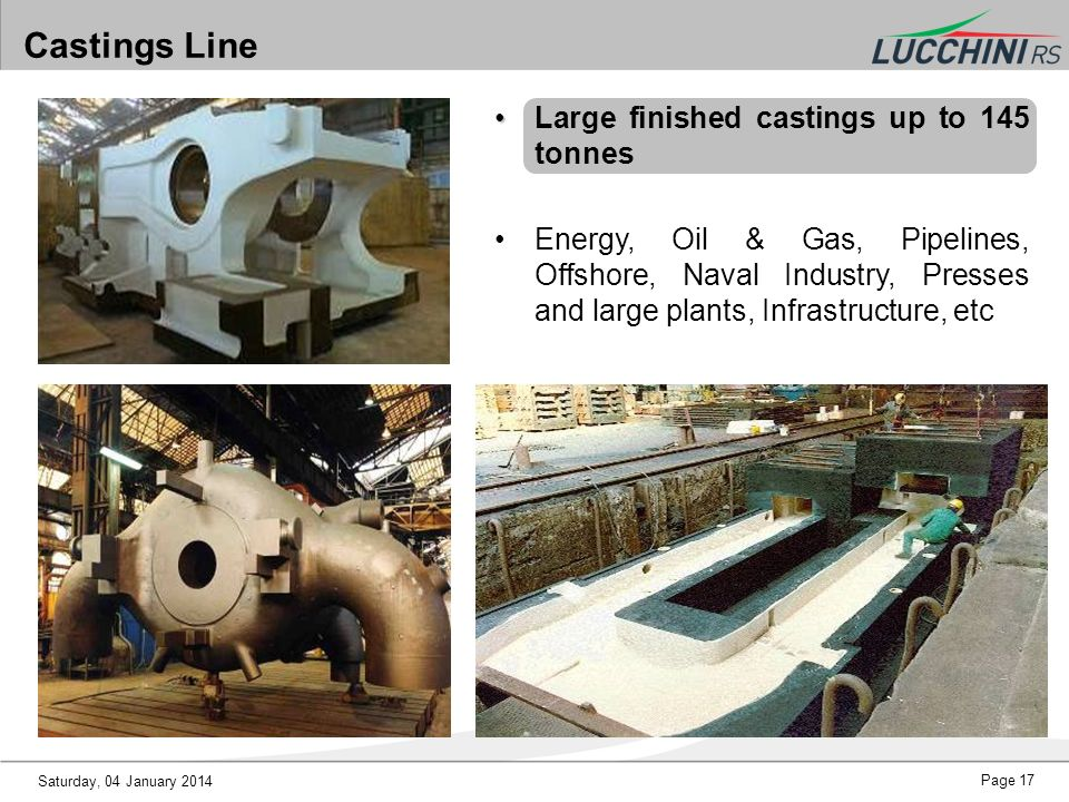 Castings Line Large finished castings up to 145 tonnes