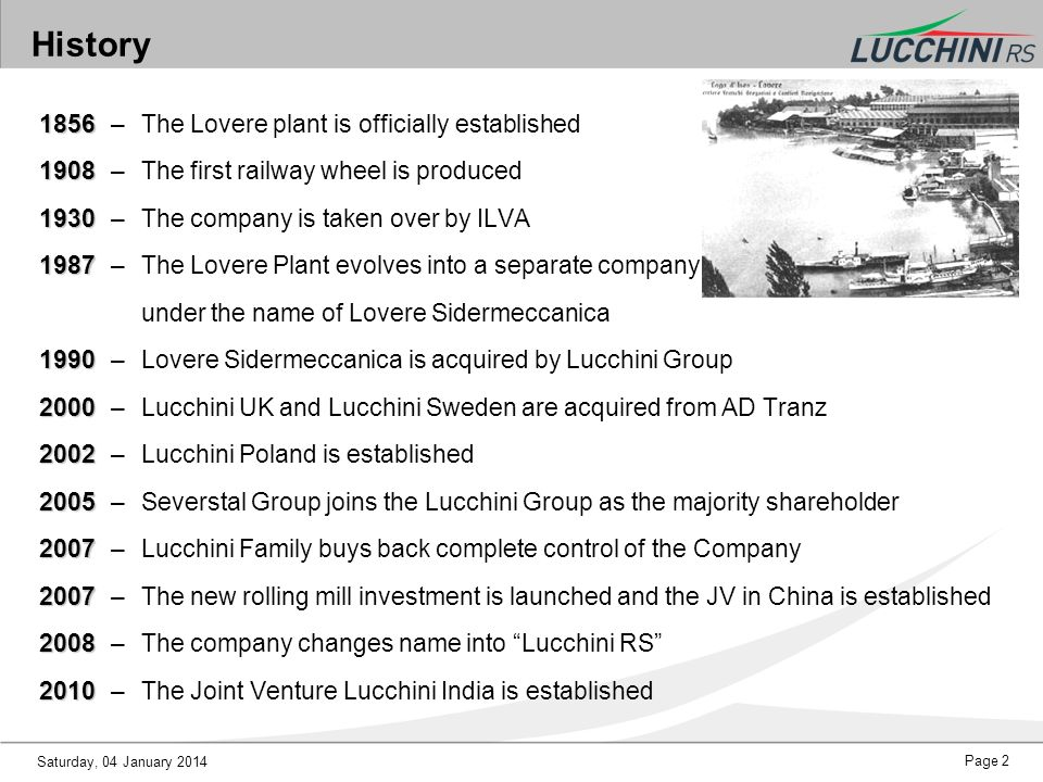 History 1856 – The Lovere plant is officially established